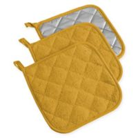 Design Imports Terry Pot Holders in Yellow (Set of 3)