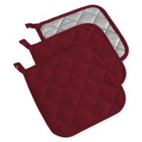 Design Imports Terry Pot Holders in Wine (Set of 3)