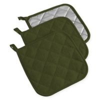 Design Imports Terry Pot Holders in Green (Set of 3)