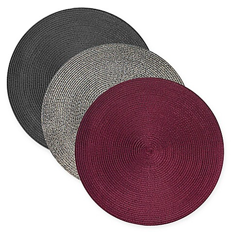 Design Imports Round Woven Metallic Placemats Set Of 6