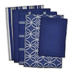 Design Imports 5-Piece Patterned Kitchen Towel and Dish Cloth Set in Blue/White