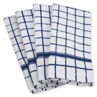 Design Imports Windowpane Terry Kitchen Towels in Blue (Set of 4)
