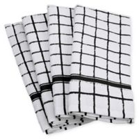 Design Imports Windowpane Terry Kitchen Towels in Black (Set of 4)