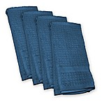 Design Imports Waffle Kitchen Towels in Blue (Set of 4)