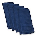 Design Imports Waffle Kitchen Towels in Nautical Blue (Set of 4)