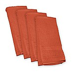Design Imports Waffle Kitchen Towels in Orange (Set of 4)
