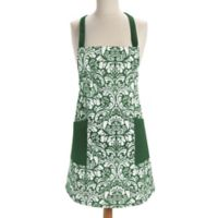 Design Imports Damask Apron in Green