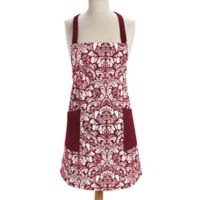 Design Imports Damask Apron in Wine