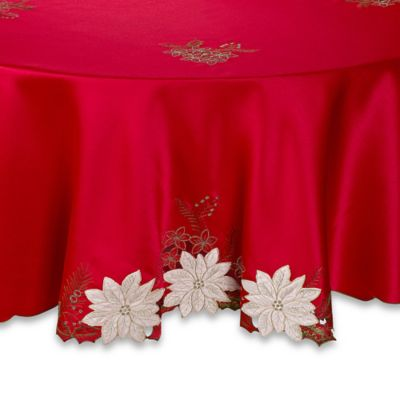 Nice Kori Poinsettia 70 Inch Round Tablecloth In Red