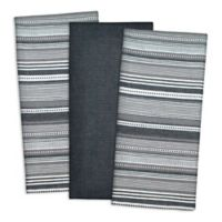 Design Imports 3-Pack Urban Stripe Kitchen Towels in Black