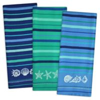 Design Imports 3-Piece Blue Sea Embroidered Kitchen Towel Set