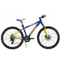 NBA Golden State Warriors 26-Inch 380mm Kids Mountain Bike with Disc Brakes in Blue/Yellow