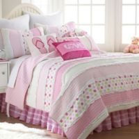 Levtex Home Melanie Ruffled Reversible Twin Quilt Set in Pink
