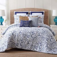 Indienne Paisley Twin XL Comforter Set in Navy/White
