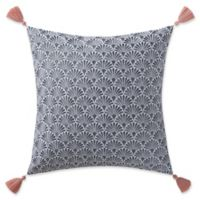 Indienne Paisley Scallop Square Throw Pillow in Navy/White