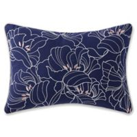 Indienne Paisley Embroidered Oblong Throw Pillow in Navy/White