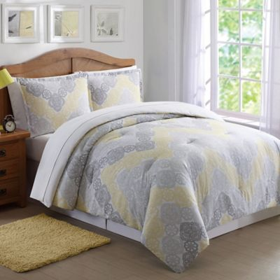 Antique Lace Chevron Full Queen Comforter Set In Grey Yellow