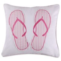 Levtex Home Melanie Flip Flops Square Throw Pillow in White/Pink