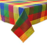 Design Imports Palette Check Indian-Inspired Summer 52-Inch Square Tablecloth