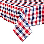 Design Imports Check 60-Inch x 104-Inch Oblong Tablecloth in Red/Blue