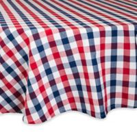 Design Imports Check 70-Inch Round Tablecloth in Red/Blue