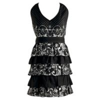 Design Imports Silver Acanthus Ruffles Vintage Apron in Black/White