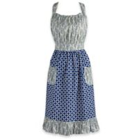Design Imports Mixed Print Vintage Apron in Blue/White