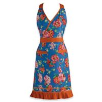 Design Imports Floral and Ricrac Vintage Apron in Blue/Orange