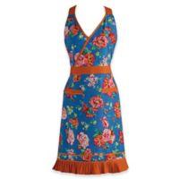 Design Imports Floral and Ricrac Vintage Apron in Blue/Orange