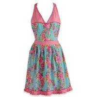 Design Imports Floral and Polka Dot Vintage Apron in Blue/Pink