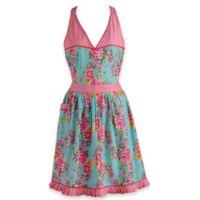 Design Imports Floral and Polka Dot Vintage Apron in Blue/Pink