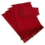 Design Imports 8-Piece Variegated Fringed Placemat and Napkin Set in Red