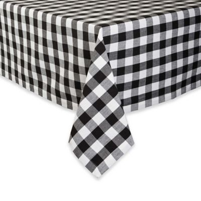 Design Imports Checkers 52 Inch Square Tablecloth In Black/White
