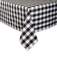 Design Imports Checkers 52-Inch Square Tablecloth in Black/White