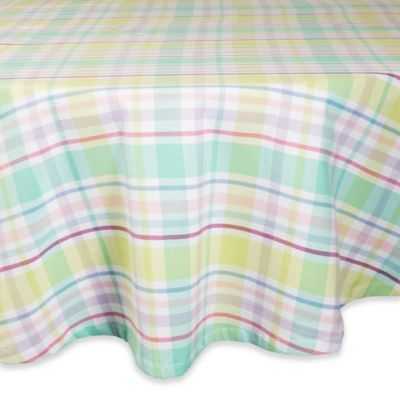 Design Imports Spring Plaid 70 Inch Round Tablecloth