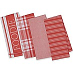 Design Imports 4-Piece Gourmet Patterned Kitchen Towel Set in Red