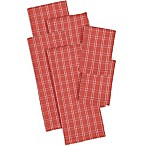 Design Imports 6-Piece Checked Heavyweight Kitchen Towel and Dish Cloth Set in Red