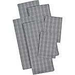 Design Imports 6-Piece Checked Heavyweight Kitchen Towel and Dish Cloth Set in Grey
