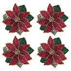 Beaded Poinsettia Coasters (Set of 4)