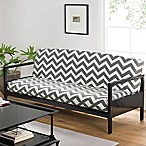 Cotton Full Futon Cover in Grey Chevron