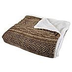 Nottingham Home Reversible Fleece King Blanket in Chocolate/Taupe