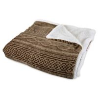 Nottingham Home Reversible Fleece Full/Queen Blanket in Chocolate/Taupe