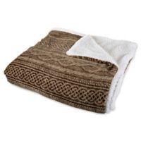 Nottingham Home Reversible Fleece King Blanket in Chocolate/Taupe