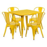 Flash Furniture 5-Piece Metal Indoor Square Table and Stackable Chairs Set in Yellow