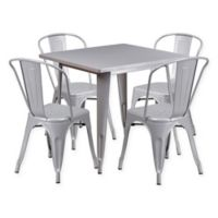 Flash Furniture 5-Piece Metal Indoor Square Table and Stackable Chairs Set in Silver