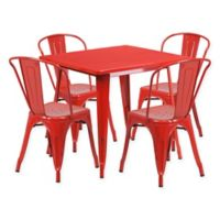 Flash Furniture 5-Piece Metal Indoor Square Table and Stackable Chairs Set in Red