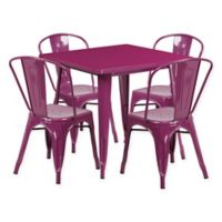 Flash Furniture 5-Piece Metal Indoor Square Table and Stackable Chairs Set in Purple