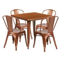 Flash Furniture 5-Piece Metal Indoor Square Table and Stackable Chairs Set in Copper