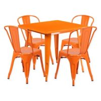 Flash Furniture 5-Piece Metal Indoor Square Table and Stackable Chairs Set in Orange