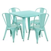 Flash Furniture 5-Piece Metal Indoor Square Table and Stackable Chairs Set in Mint Green